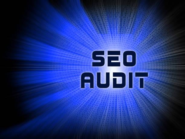 Auditoría de SEO sitio Web Ranking evaluación ilustración 2d - foto de stock
