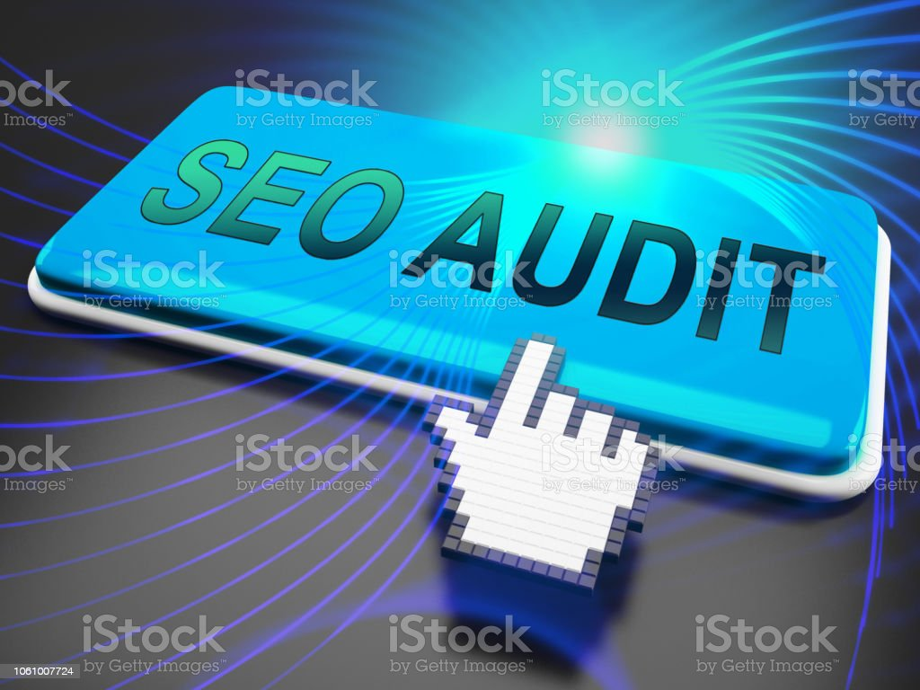Auditoría de SEO sitio Web Ranking evaluación render 3d - foto de stock