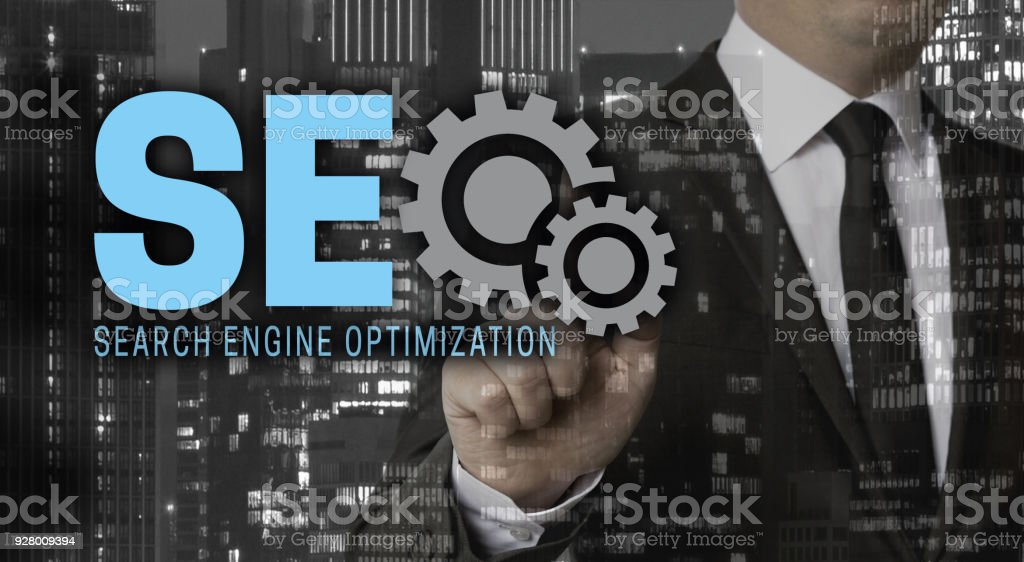 Seo concept is shown by businessman stock photo