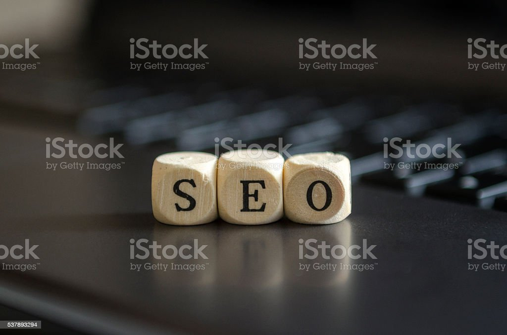 Seo Concept with Alphabet Blocks stock photo