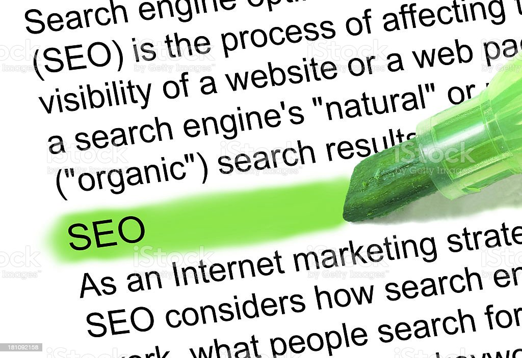 seo definition highlighted in dictionary - Search engine optimation stock photo