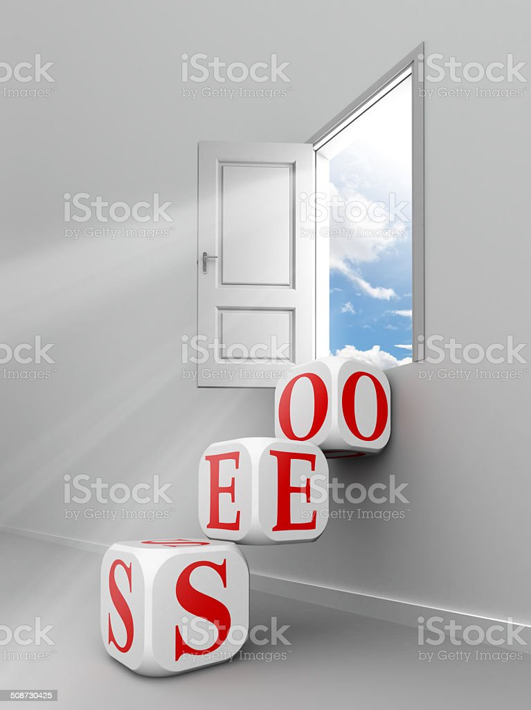 seo red word blocks to open door royalty-free stock photo