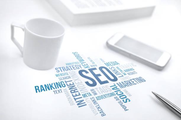 seo, search engine optimization, business concept word cloud wit - www kaffee oder tee stock-fotos und bilder