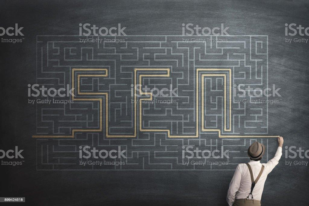 Seo search engine optimization, web enigma labyrint hsolution stock photo