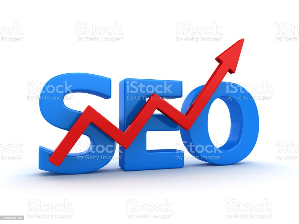 Seo Text with Red Arrow stock photo