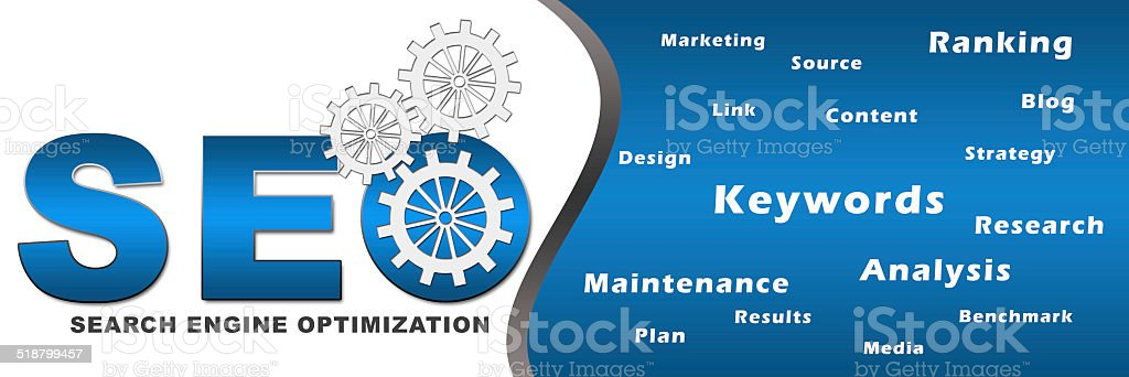Seo With Gears and Keywords Banner stock photo