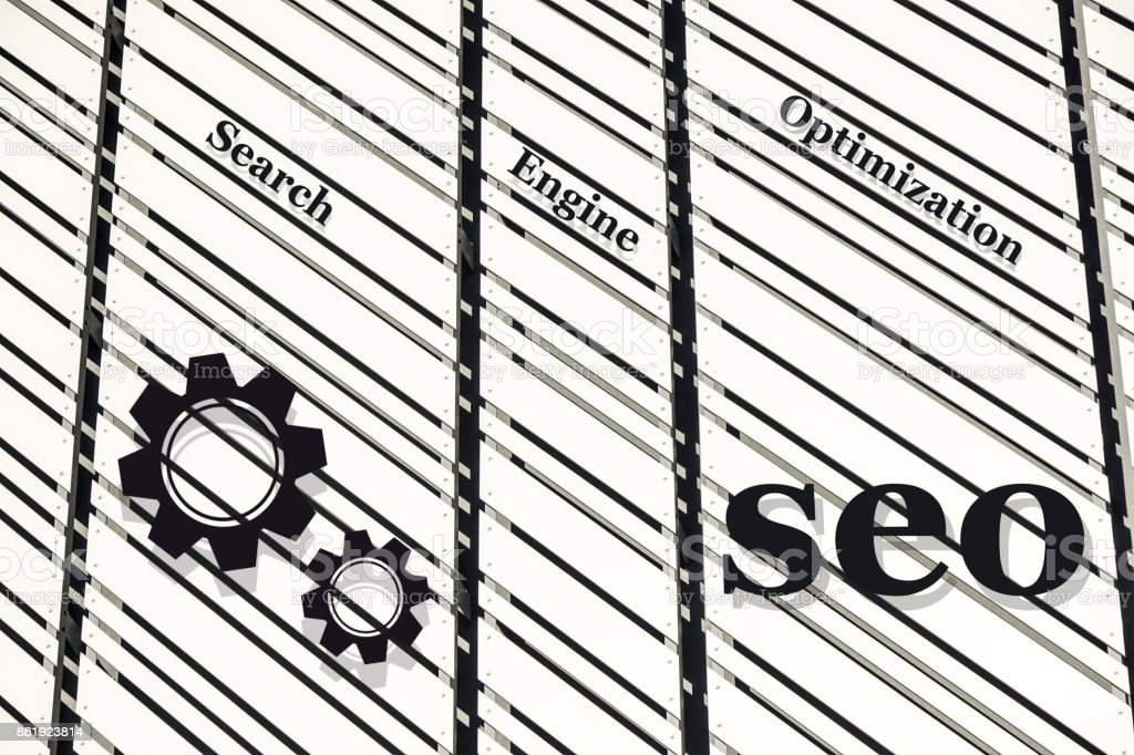 Seo word collected of metal wall elements with the letters stock photo
