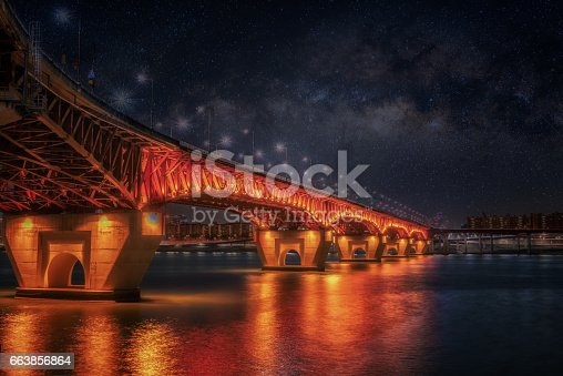 962814924 istock photo Seongsu bridge and milky way at nigth in seoul,korea 663856864