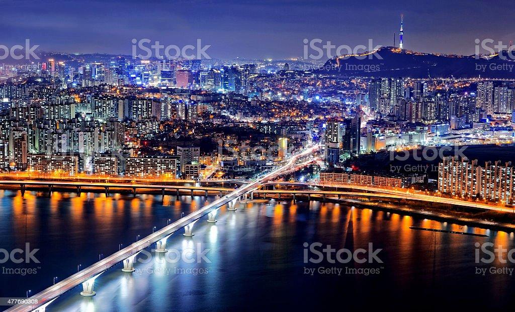 Seoul at twilight stock photo