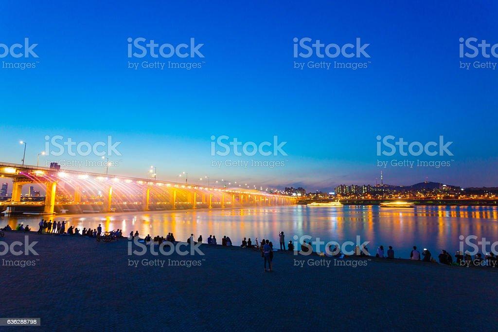 Seoul Banpo Bridge Water Light Show Audience H stock photo