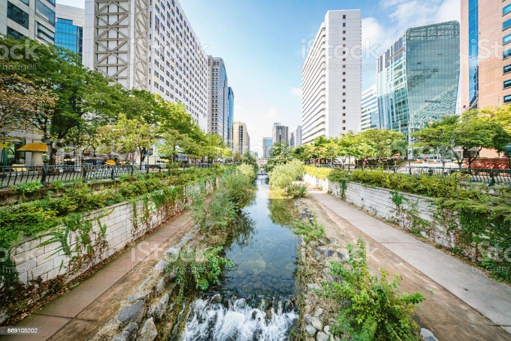 Südkorea Seoul Cheonggyecheon Stream – Foto
