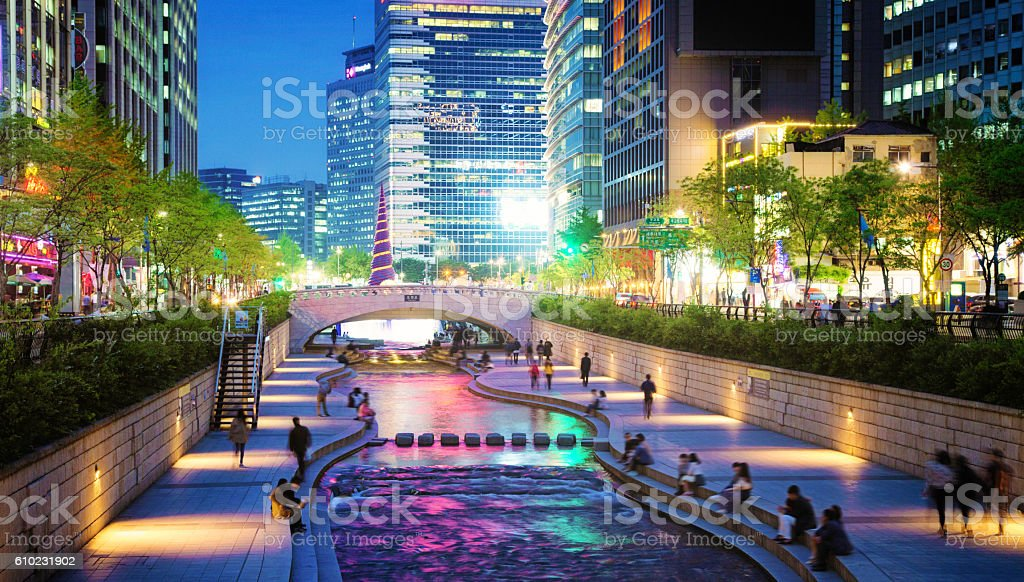Seoul Cheonggyechon stream park and bridge at night stock photo
