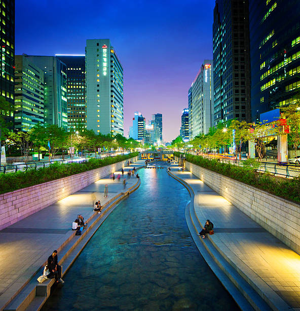 Seoul Cheonggyechon stream promenade at night stock photo