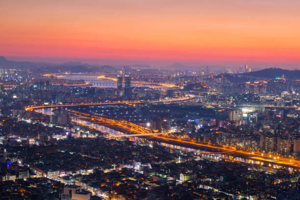 seoul city and skyline with skyscrapers in sunset, han river in aerial view of yongma mountain or yongmasan - wreck of the ss yongala stock pictures, royalty-free photos & images