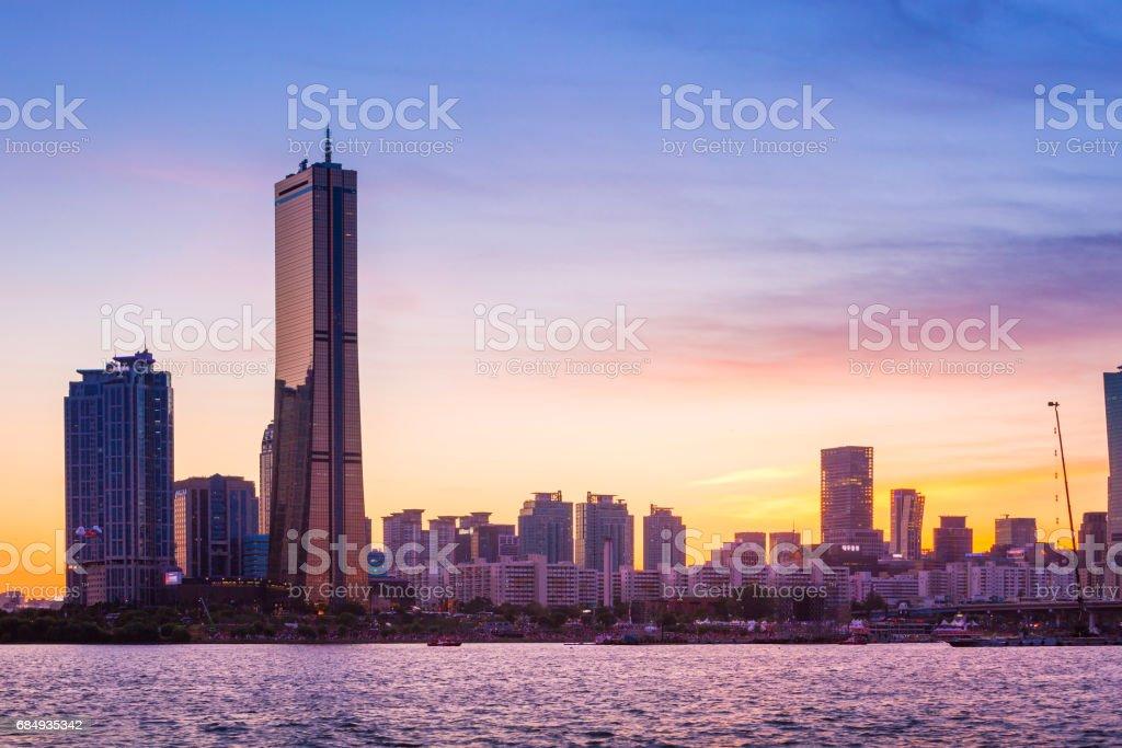 seoul city and skyscraper, yeouido in  twilight, south korea. stock photo
