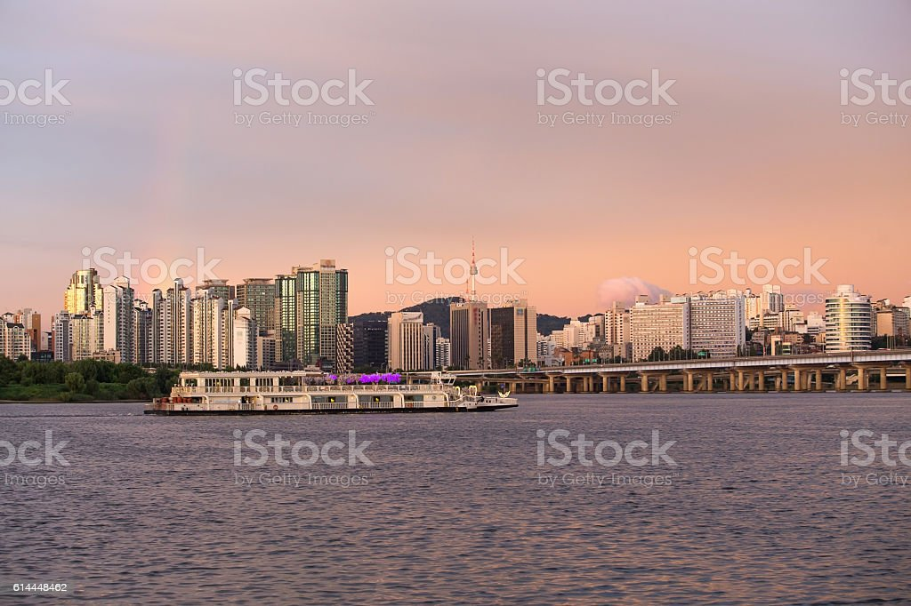 Seoul city  in South Korea. stock photo