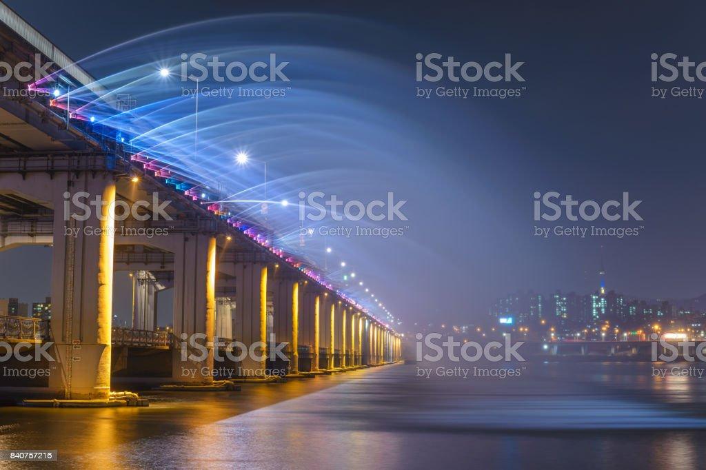 Seoul city skyline and Fountain at Banpo Bridge, Seoul, South Korea stock photo