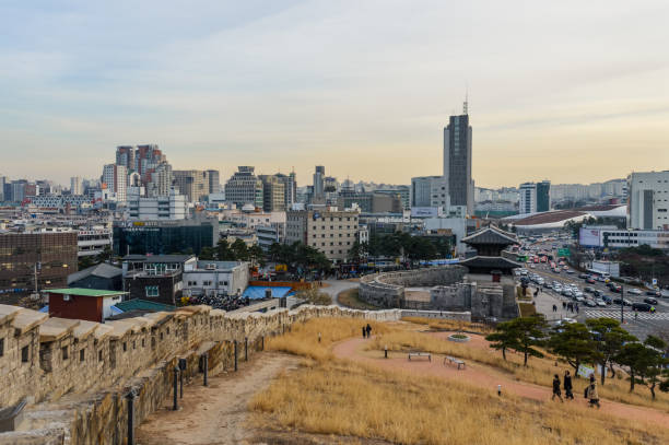 Seoul city skyline from Naksan Park stock photo