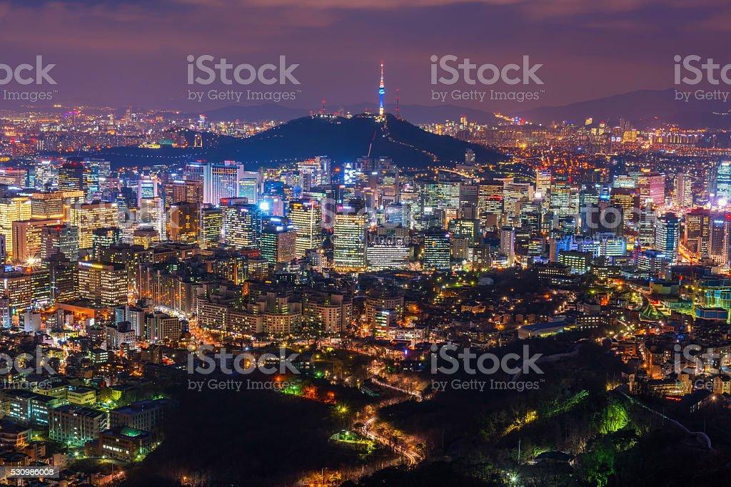 Seoul City Skyline , South Korea stock photo
