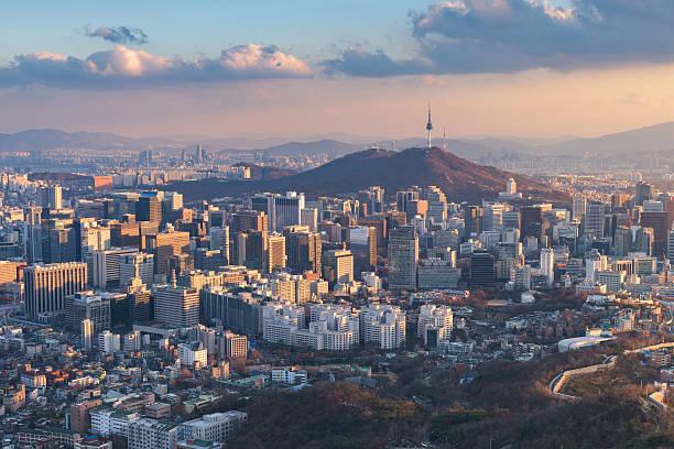 Horizonte de la ciudad de Seúl, la mejor vista de Corea del Sur. - foto de stock