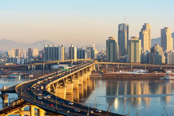 Skyline de ciudad de Seúl, Corea del sur. - foto de stock