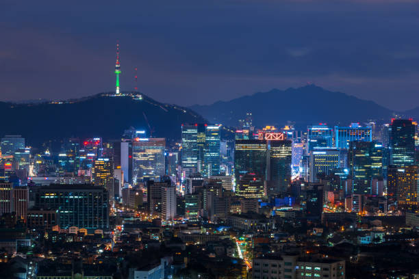 Paisaje urbano de Seúl en la noche, Corea del sur. - foto de stock