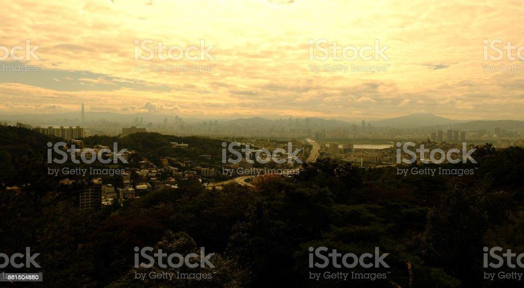 Seoul Cityscape at Sunrise stock photo
