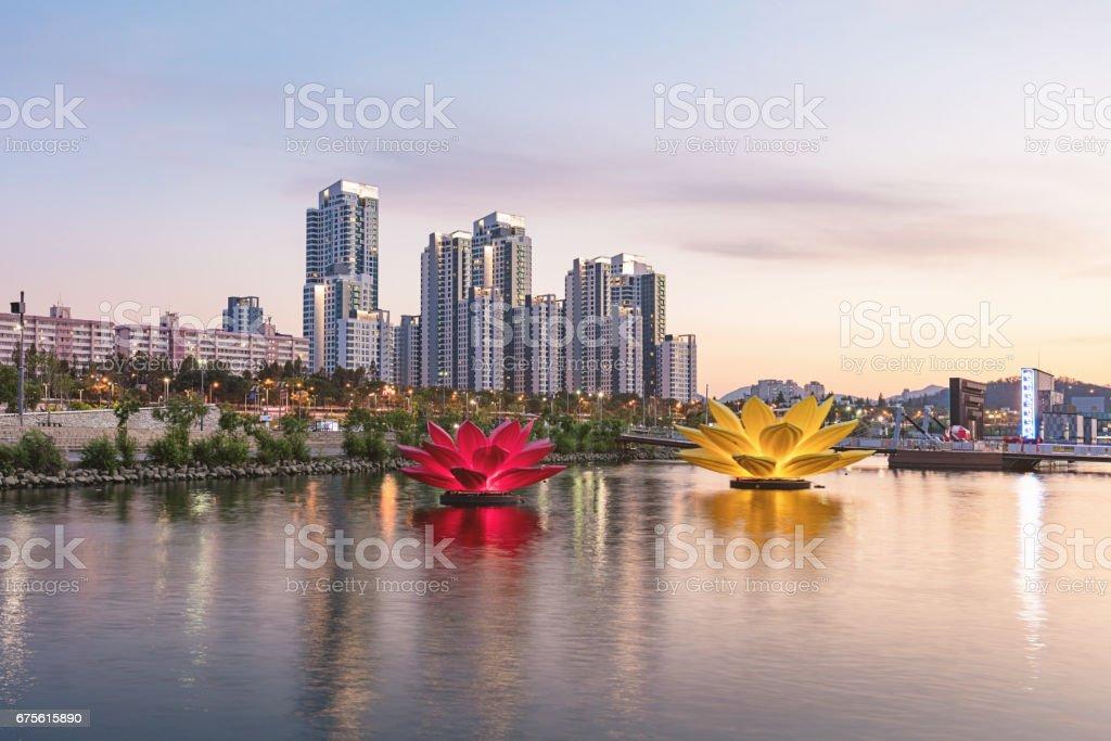 Seoul Cityscape Riverside Banpo Hangang at Twilight South Korea stock photo