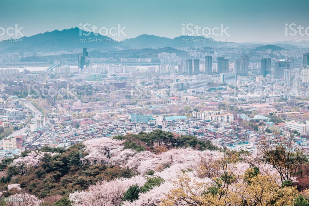 Seoul cityspace with cherry blossoms from Namsan Seoul tower in Korea stock photo