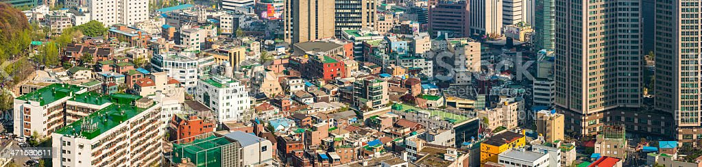 Seoul colourful crowded cityscape aerial panorama over rooftops South Korea royalty-free stock photo