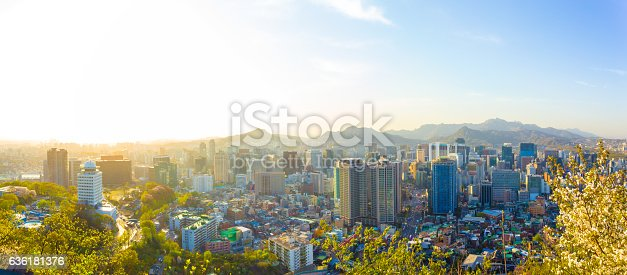 istock Seoul Downtown Aerial View Panoramic Cityscape 636181376