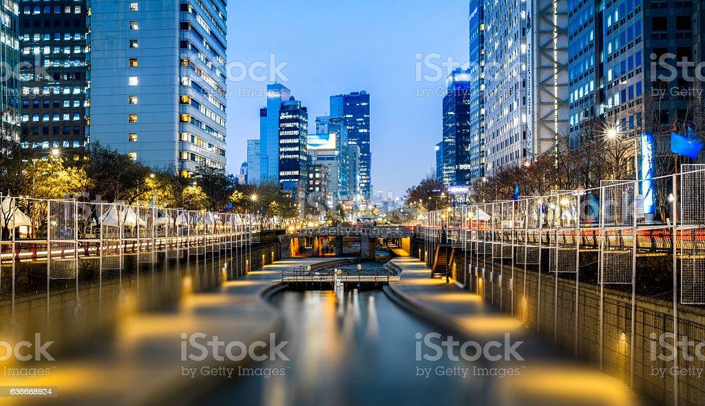 Seoul Downtown at night stock photo