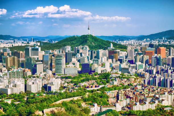 seoul centrum stadsgezicht met de burcht en namsan seoul tower op zonsondergang seoel, zuid-korea. - korea stockfoto's en -beelden