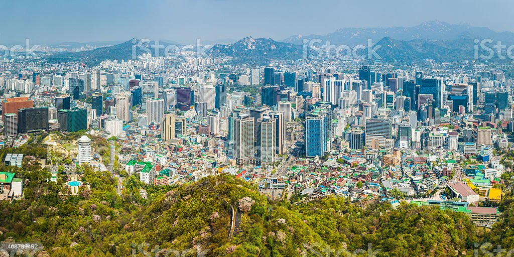 Seoul futuristic highrise cityscape crowded skyscrapers aerial panorama view Korea stock photo