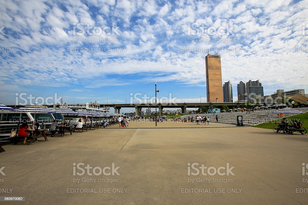 Seoul Hangang Park at Yeouido in Seoul,South Korea. stock photo