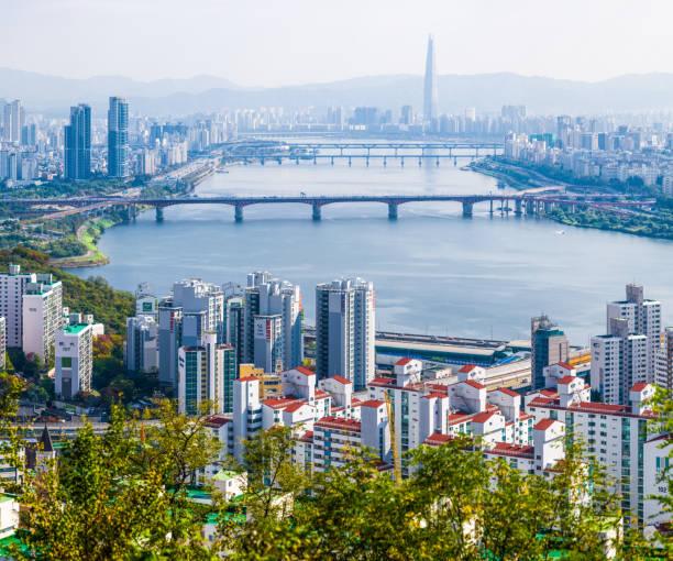 Seoul highrise housing skyscraper cityscape along Han River Korea stock photo