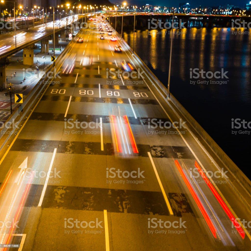 Seoul highway  at night. South Korea stock photo