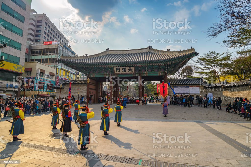 Seoul Korea March 262016 Deoksugung Palace Royal Guardchanging Ceremony  Show In Seoul South Korea Stock Photo - Download Image Now