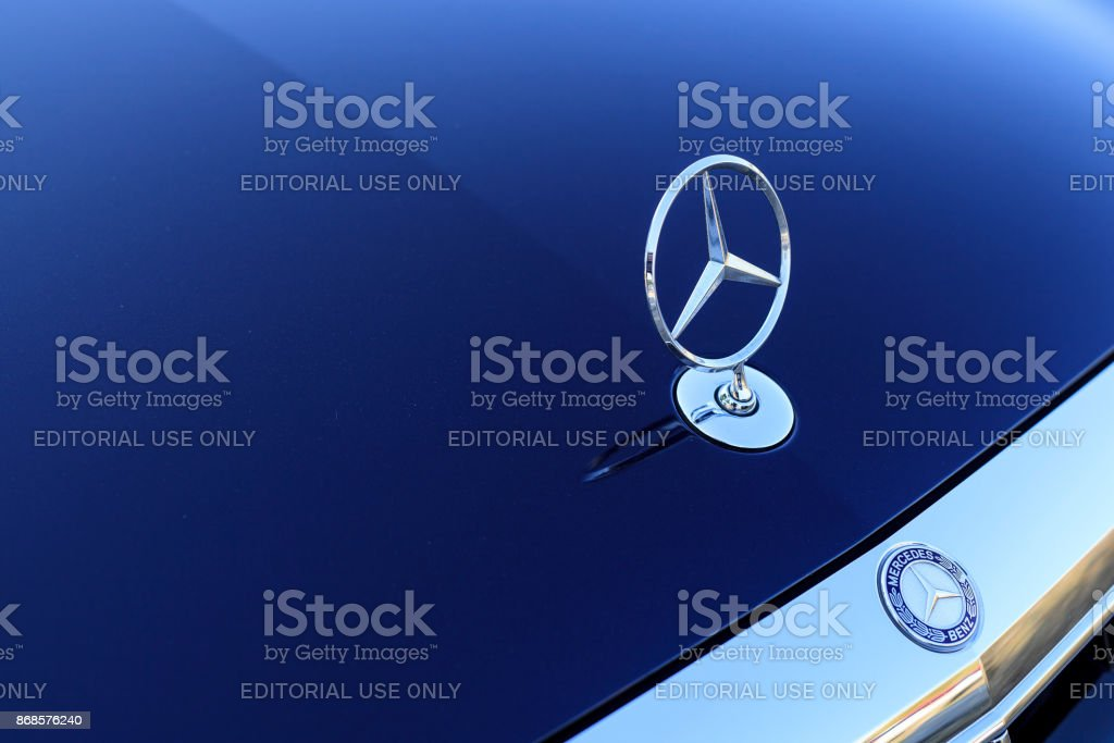 Seoul, Korea - October 20, 2017 Mercedes Benz Sign Close Up. Founded in 1926 is a German luxury automobile manufacturer, a multinational division of the German manufacturer Daimler AG. benz logo Car Stock Photo