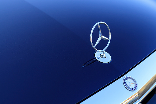 Seoul Korea October 20 2017 Mercedes Benz Sign Close Up Founded In 1926 Is A German Luxury Automobile Manufacturer A Multinational Division Of The German Manufacturer Daimler Ag Stock Photo - Download Image Now