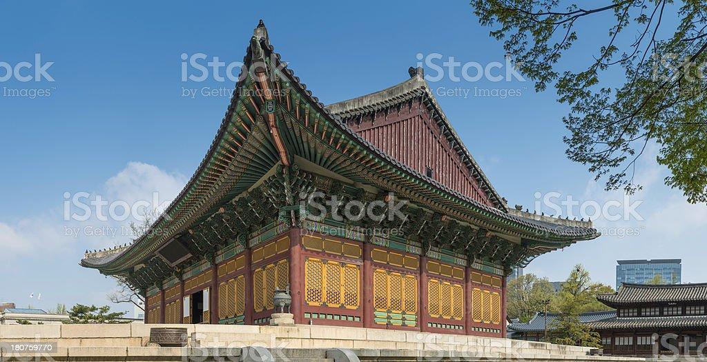 Seoul Korea ornate pagoda pavilion traditional architecture Deoksugung palace panorama royalty-free stock photo
