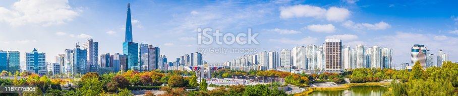 istock Seoul Lotte World Tower overlooking cityscape panorama Olympic Park Korea 1187775305