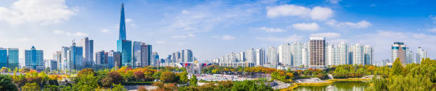 Seoul Lotte World Tower overlooking cityscape panorama Olympic Park Korea stock photo