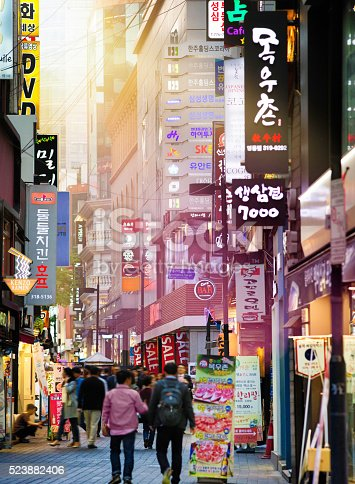 istock Seoul Myeongdong shopping street at sunset 523882406