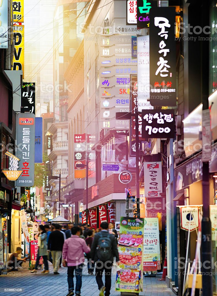 Seoul Myeongdong shopping street at sunset stock photo