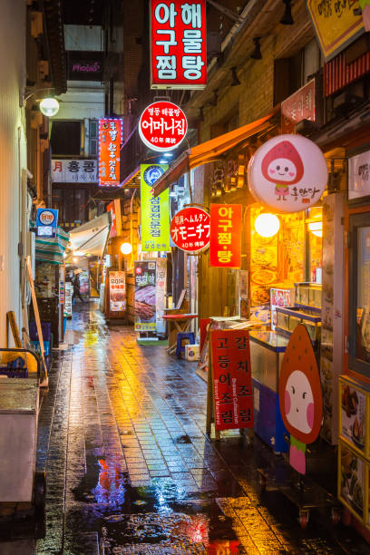 Seoul neon night rainy streets pavement restaurants Myeong-dong Korea stock photo