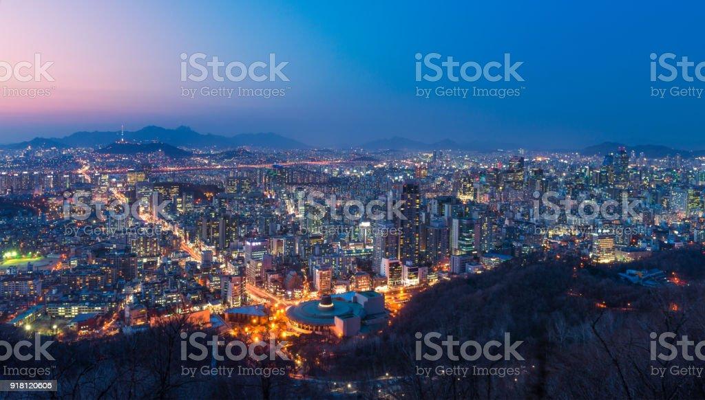 Seoul night cityscape stock photo