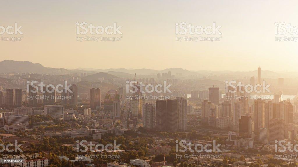 Seul Panorama kentsel Güney Kore royalty-free stock photo