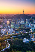 Cityscape image of Seoul downtown during summer sunrise.