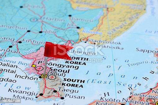 1151956281 istock photo Seoul pinned on a map of Asia 487667538